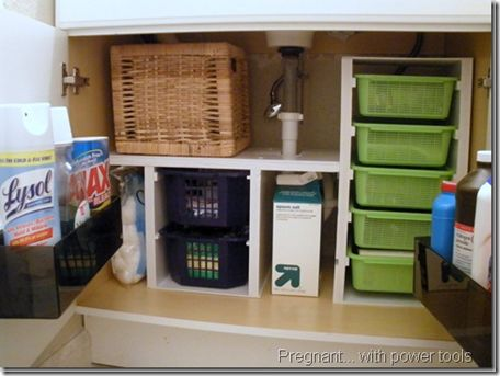 "Under Bathroom Sink Organizers! You can put so much ""stuff"" under here! I would go one more step and label the baskets so it is easier to find what I need."