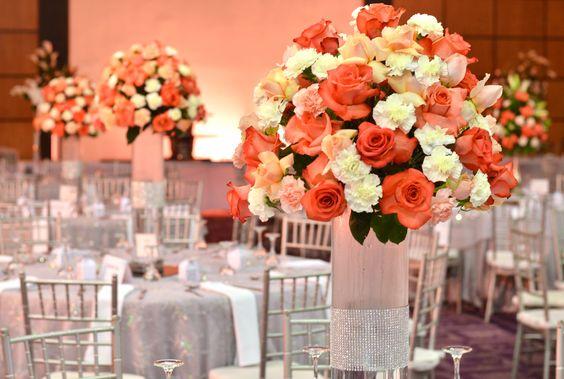 Wedding #decoration #wedding #peachlove #flowers #centerpiece