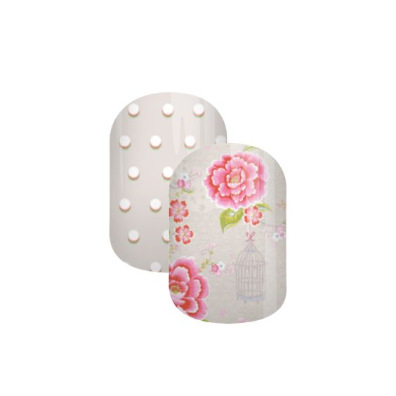 Vintage Polka | Jamberry Nail Art Studio | Custom Design by Dazzling Darlene | This little gem sets a flutter in your heart with florals in pink and grey undertones. A matching polka dot design goes perfectly in this pair.