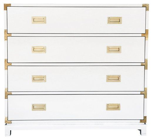 Carlyle 4 Drawer Campaign Dresser White Campaign Dresser White Chests Drawers