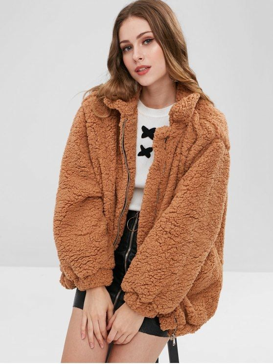clearance prices new specials cute Slip Pockets Faux Fur Teddy Coat APRICOT BLACK GRAY LIGHT BROWN ...