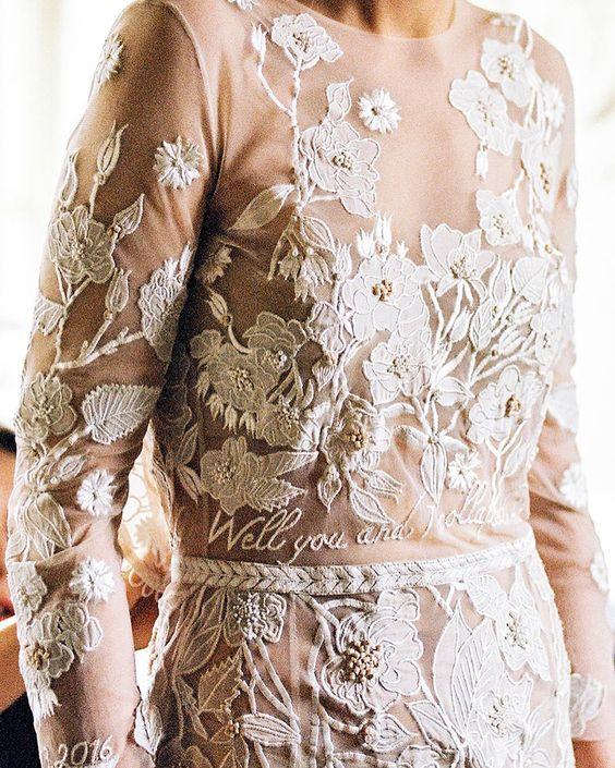 Ricami personalizzati su abito sposa 2