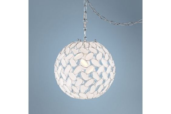 Kaia Frosted Beads Chrome Plug-In 12-Inch-W Swag Pendant