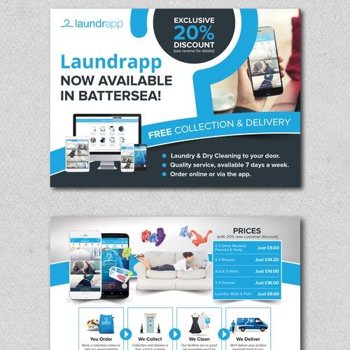 Laundry Dry Cleaning App Flyer Design A5 Double Sided
