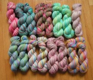 This is 100% alpaca yarn that I just dyed.  Ready for sale at a local festival!