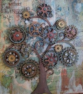 garden art from junk | cog art repinned from garden art by carol samsel