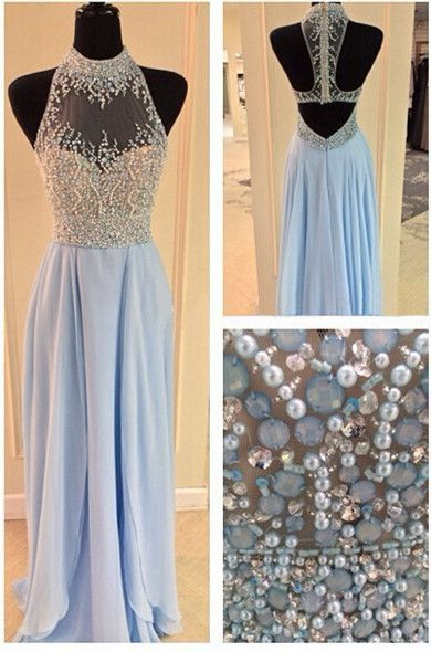 Beaded high neck chiffon prom dress with beautiful top details, long evening dress for teens #coniefox