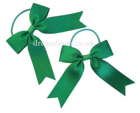 Emerald green grosgrain ribbon hair bows on thin bobbles - www.dreambows.co.uk green hairbows, buy green hairbows, buy baby bows, bows for girls, girls hair bobbles, shop for hairbows, uk handmade, handmade hairbows for girls