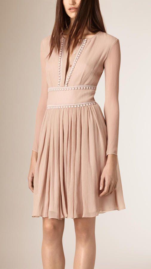 Burberry Lace Trim Silk Crepe Dress