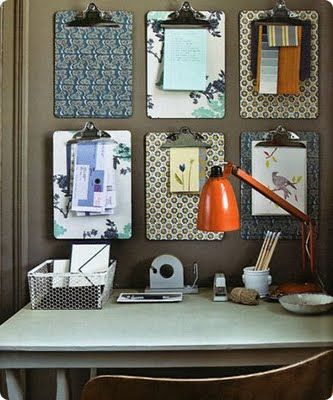 Clipboards as decorative office organizers.