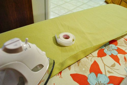 Making no sew bedroom curtains with fabric and hem tape How to make a valance without sewing