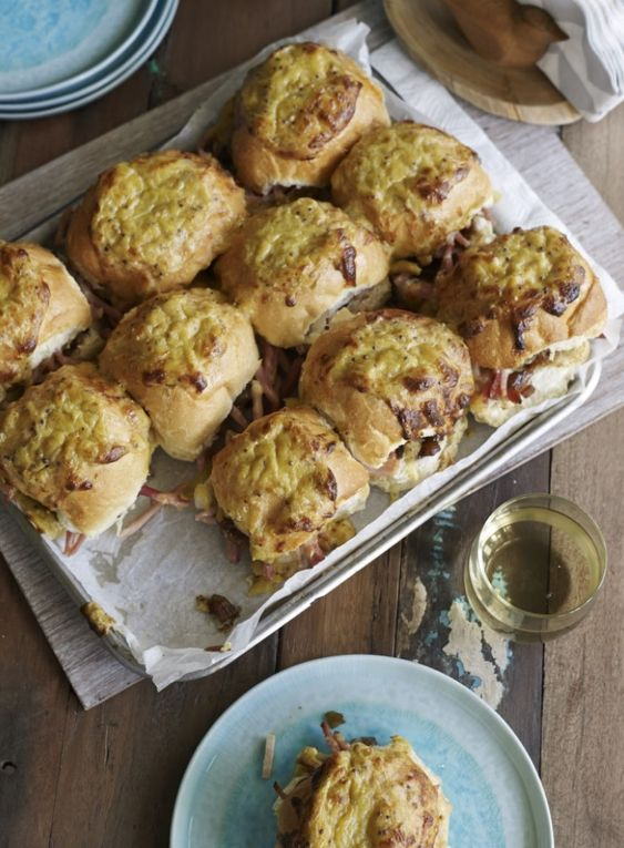 Hot Ham and Onion Jam Rolls with Molten Cheese - These rolls were a huge hit when I was coming up with recipes to use leftover Christmas ham. Place these on the table and watch them disappear! Great with a cold beer.