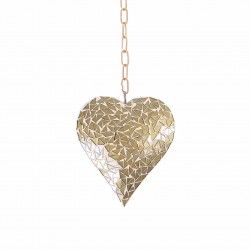 Hanging Gold Mosaic Heart Ornament For The Garden Or Home Garden