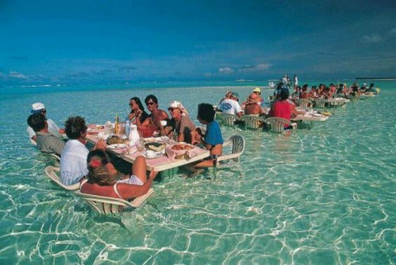 Dining on the water in the Tahiti islands