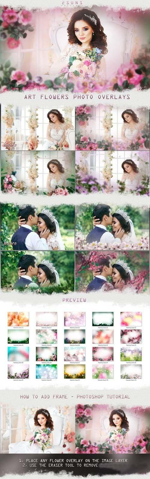 Art flowers overlays frame templates wedding - 265083