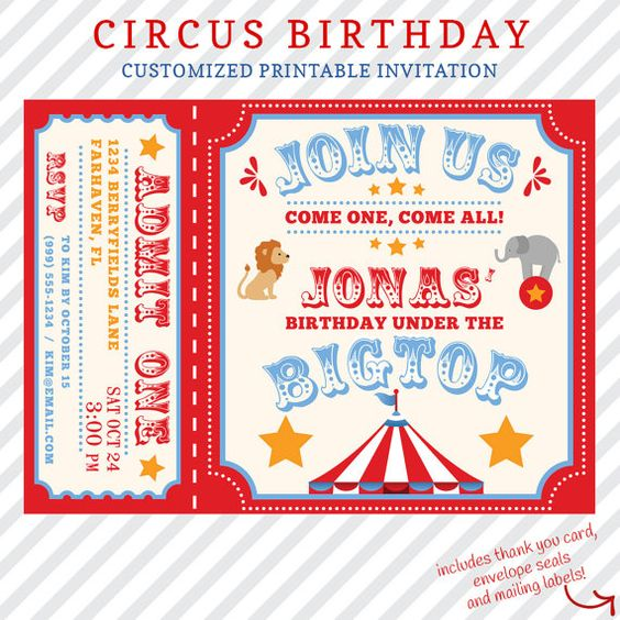 Carnival Themed Party, Cas And Customized Invitations On
