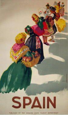 Spain  Item #: TRV-1484  Category: Travel  Artist: Morell  Circa: 1948  Origin: Spain  Dim: 23 1/4 x 39 in.