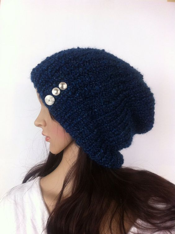blue navy  Slouch Beanie Slouchy  women hat Hand by LoreNovedades, $45.00