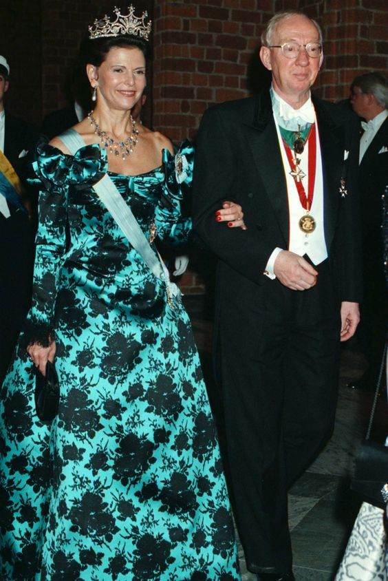 Queen Silvia at the Nobel prize ceremony in 1997 Dress made by Nina Ricci