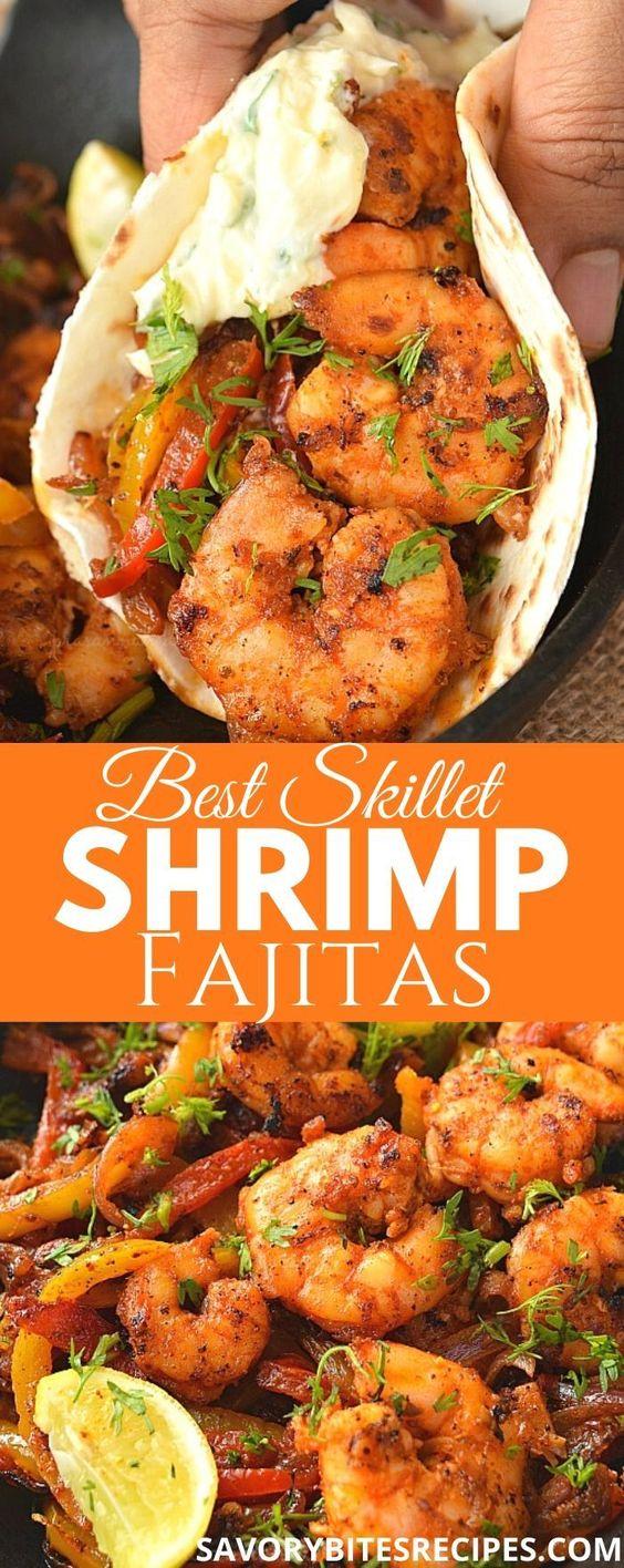 Best Ever Skillet Shrimp Fajitas!