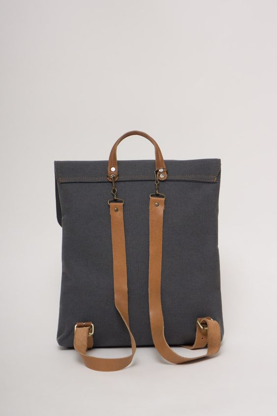 BONENDIS - LONDON GREY BACKPACK BACK #love #handmade #backpack #bonendis #canvas #leather #vintage