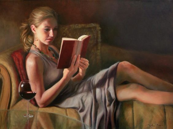 Image result for reading books with wine painting