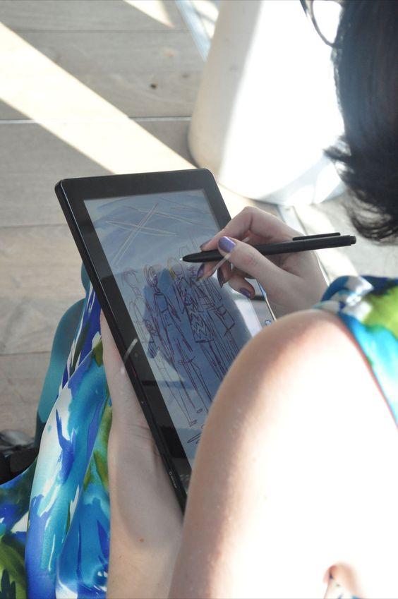 An Artist sketching on the Windows 8 app Fresh Paint