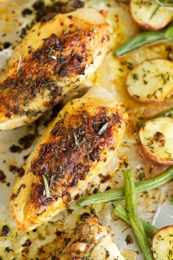 One Sheet Pan Rosemary Chicken With Potatoes Recipe Resep Makanan Makanan Memasak