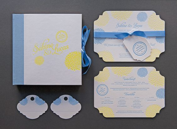 #stationery #letterpress #vintage #weddinginvitation #inspiration #weddingstyle #weddingday #design #lenahoschek #flower #roses #diecut #savethedate #elegant #luxury #tuscanywedding #yellow #blue #hangingtag
