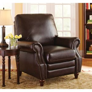 Better Homes and Gardens Nailhead Leather Recliner, Antique Brown