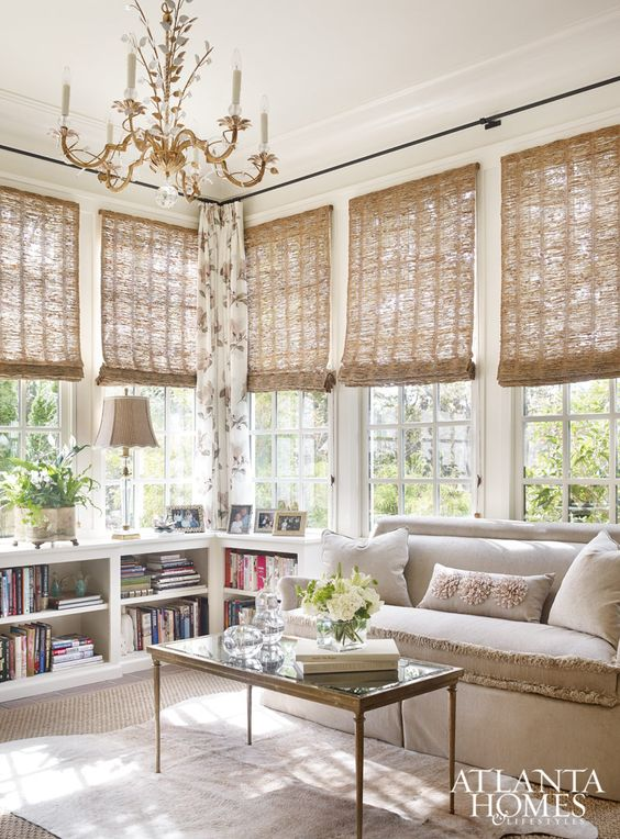 save this bookcase idea. Also nice window coverings but would want fewer, larger ones.