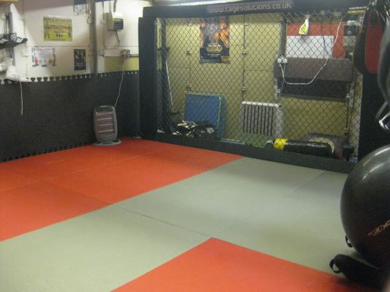 Garage gym setup with mma cage home weight room