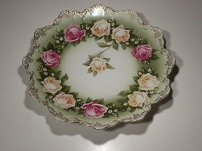 """STUNNING ANTIQUE PHILIP ROSENTHAL YELLOW AND PINK ROSE 9 5/8"""" PLATE 1890-1930"""