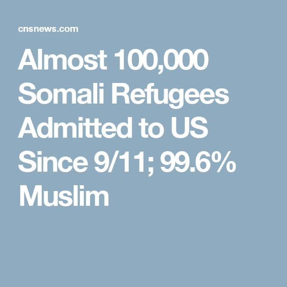 Almost 100,000 Somali Refugees Admitted to US Since 9/11; 99.6% Muslim