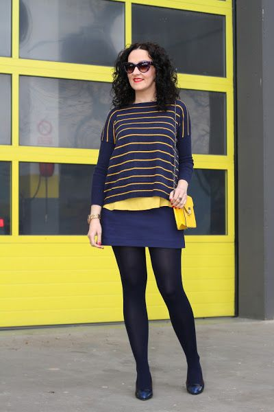 NAVY BLUE AND YELLOW OUTFIT