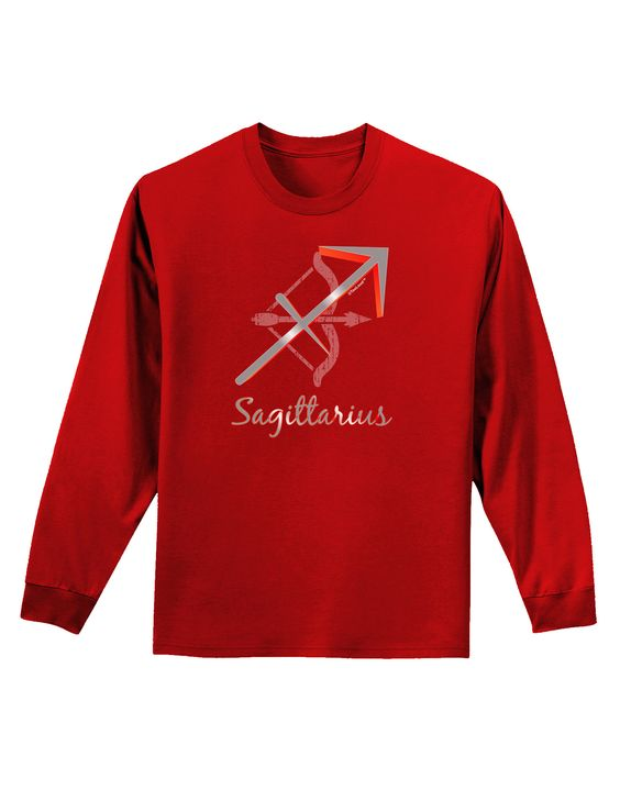 TooLoud Sagittarius Symbol Adult Long Sleeve Dark T-Shirt