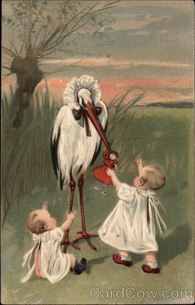Babies with Stork Storks