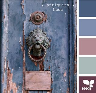 "Vintage - ""antiquity hues"".  My beautiful blue, with the unexpected antique violet thrown in as accent.  A bedroom palette.:"
