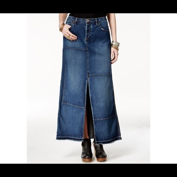 Free people patchwork denim maxi skirt! brand new!Price is firm! Free People Skirts Maxi