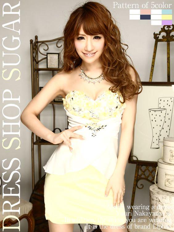 キャバドレス☆セクシードレスに甘さをプラス☆胸元に咲き誇る華やかなフラワーが可愛いの♪ミニキャバドレス☆