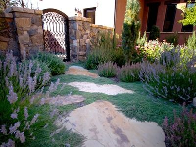 This gorgeous walkway gives off an herbal fragrance when walked, due to the creeping thyme and billows of lavender spilling over the stones. Design by Blooming Desert Landscapes of Bend, Or. Check out more from this landscaper here: http://www.landscapingnetwork.com/landscaper/blooming-desert-landscapes-bend-or_2511/