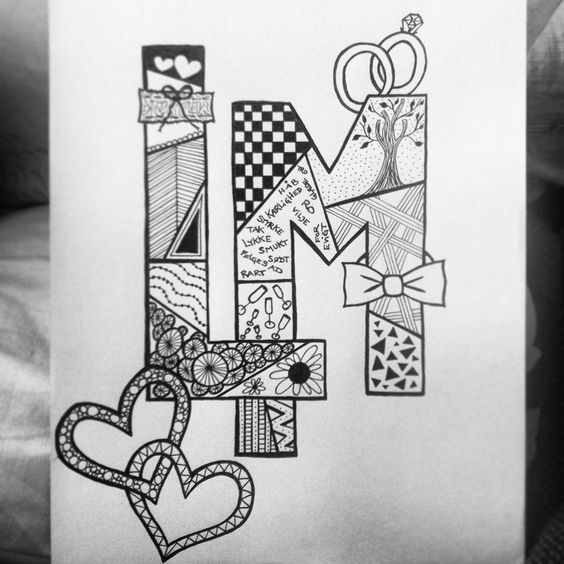 zentangle monogram for a wedding zentangles pinterest