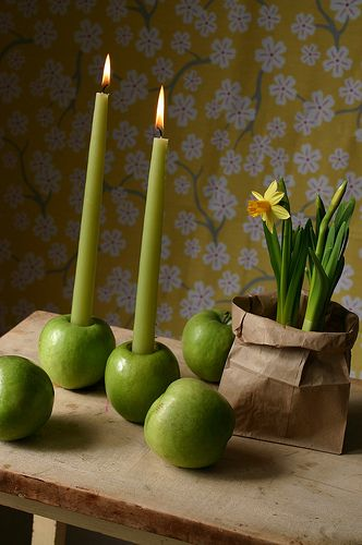 velas: Thanksgiving Centerpiece, Table Decoration, Dining Table, Green Apples, Apple Candlesticks, Party Ideas, Apples Candlesticks