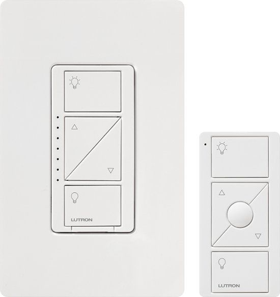 Lutron Caseta Wireless Smart Lighting Dimmer Switch And Remote Kit For Wall And Ceiling Lights White P Pkg1w Wh R Best Buy Light Dimmer Switch Wireless Lights Dimmer Switch