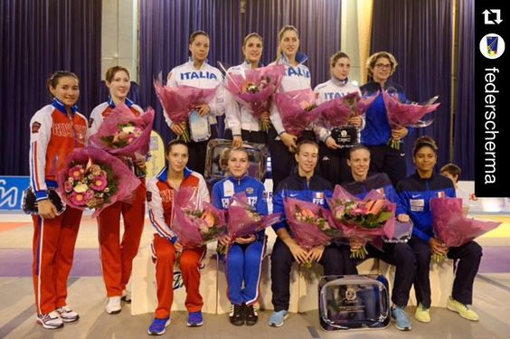 """1. @federscherma 2. Russia 3. France in Women's foil team World Cup in St. Maur!  The Dream Team """"Never Ending Story"""" #scherma #fencing #wewantroma #dreamteam #escrime @aryerri @fiori_di_lilla @martinabepi @conisocial @roma_2024 @kappa_official @kinderpiusport @ysahav by fencing_fie"""