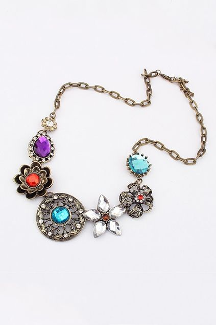 Necklace made of alloy,featuring varied colored rhinestone pendant, all in fashion style design.$15