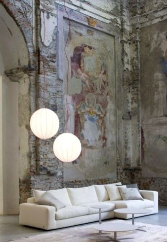 Distressed idea of an art painted feature wall instead for Distressed brick wall mural