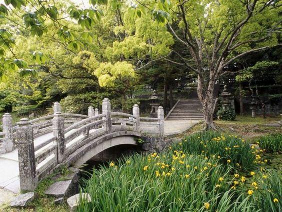 une allée de jardin avec un pont et des escaliers dans un jardin japonais