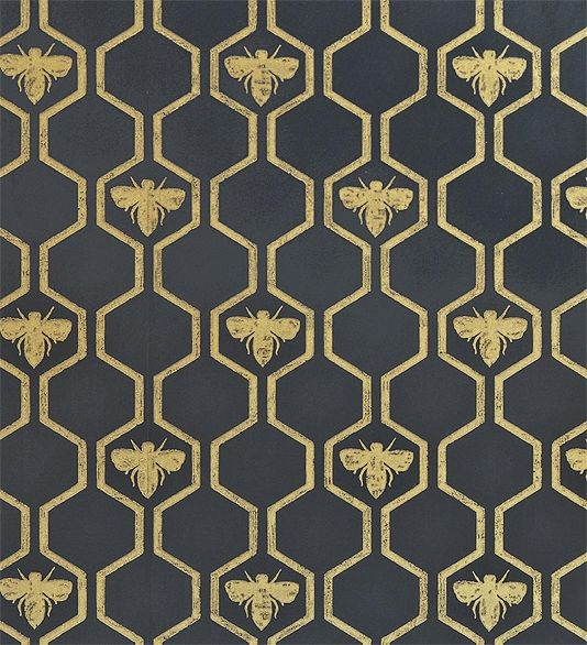 Honey Bees Wallpaper An impressive wallpaper in charcoal with a honeycombe and bee design in gold.