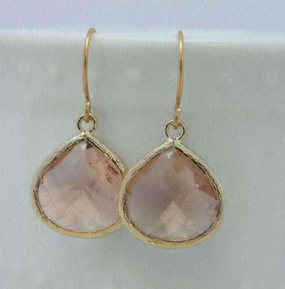Champagne Peach and Gold Dangle Earrings- Drop Earrings-Bride-Bridal-Wedding by Greenperidot on Etsy https://www.etsy.com/transaction/1063971373